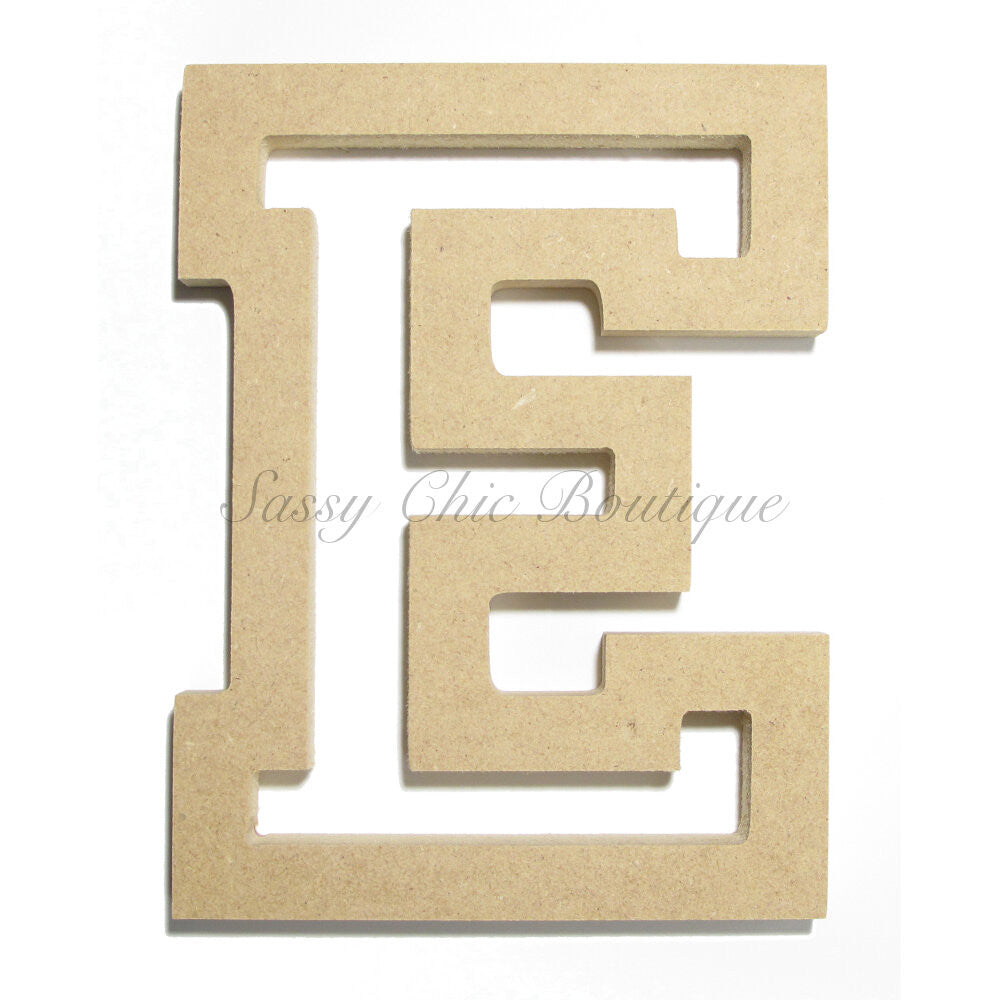 "DIY-Unfinished Wooden Letter - Uppercase ""E"" - All Star Font-Sassy Chic Boutique"