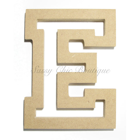 "Unfinished Wooden Letter - Uppercase ""E"" - All Star Font"