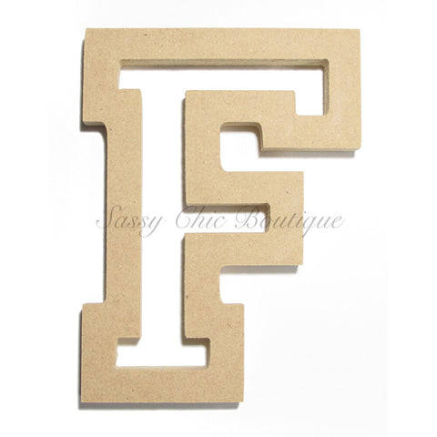 "Unfinished Wooden Letter - Uppercase ""F"" - All Star Font"