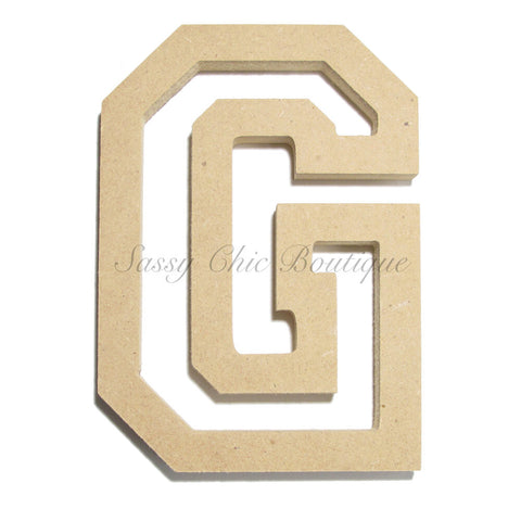 "Unfinished Wooden Letter - Uppercase ""G"" - All Star Font"