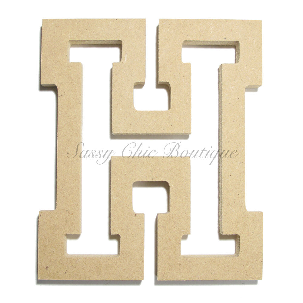 "DIY-Unfinished Wooden Letter - Uppercase ""H"" - All Star Font-Sassy Chic Boutique"