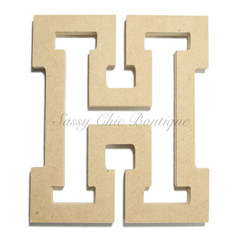 "Unfinished Wooden Letter - Uppercase ""H"" - All Star Font"