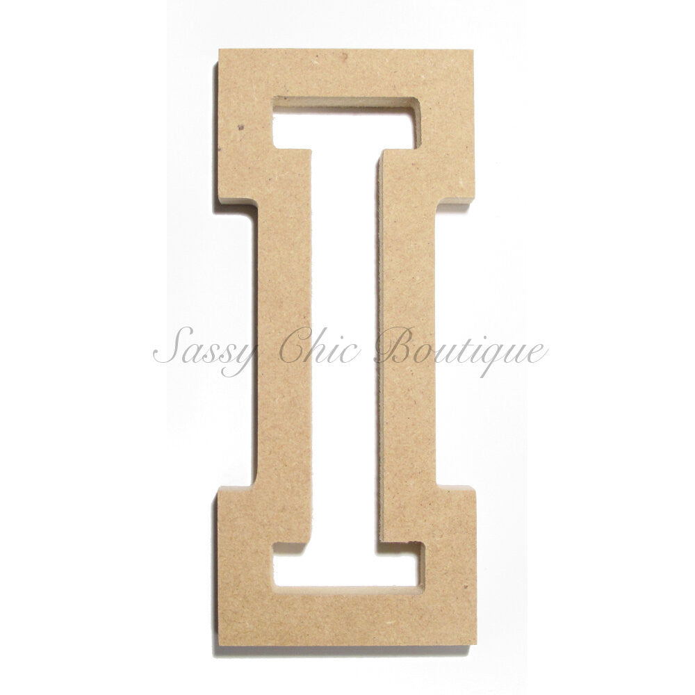 "DIY-Unfinished Wooden Letter - Uppercase ""I"" - All Star Font-Sassy Chic Boutique"