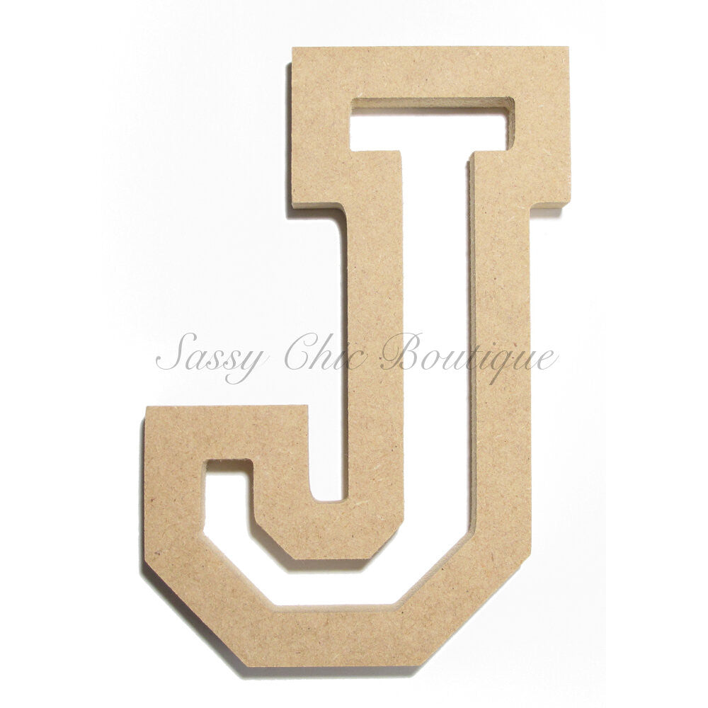 "DIY-Unfinished Wooden Letter - Uppercase ""J"" - All Star Font-Sassy Chic Boutique"