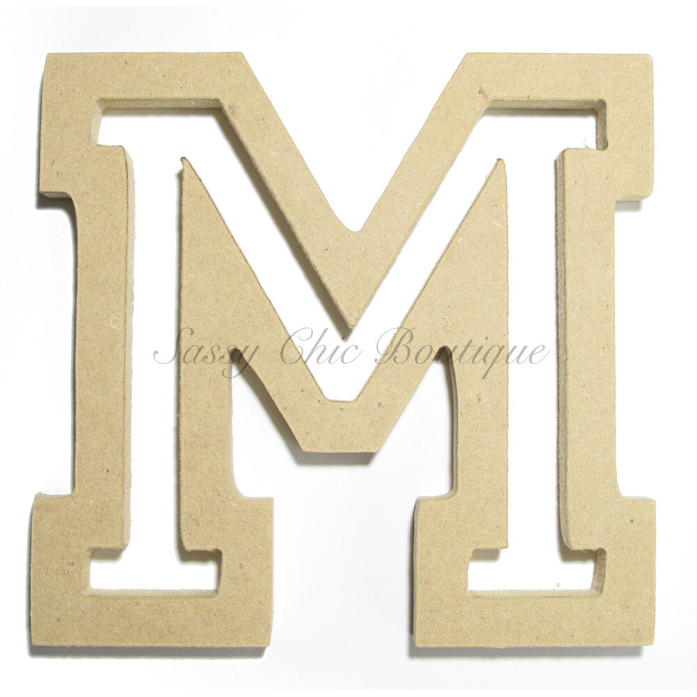 "DIY-Unfinished Wooden Letter - Uppercase ""M"" - All Star Font-Sassy Chic Boutique"