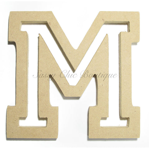 "Unfinished Wooden Letter - Uppercase ""M"" - All Star Font"