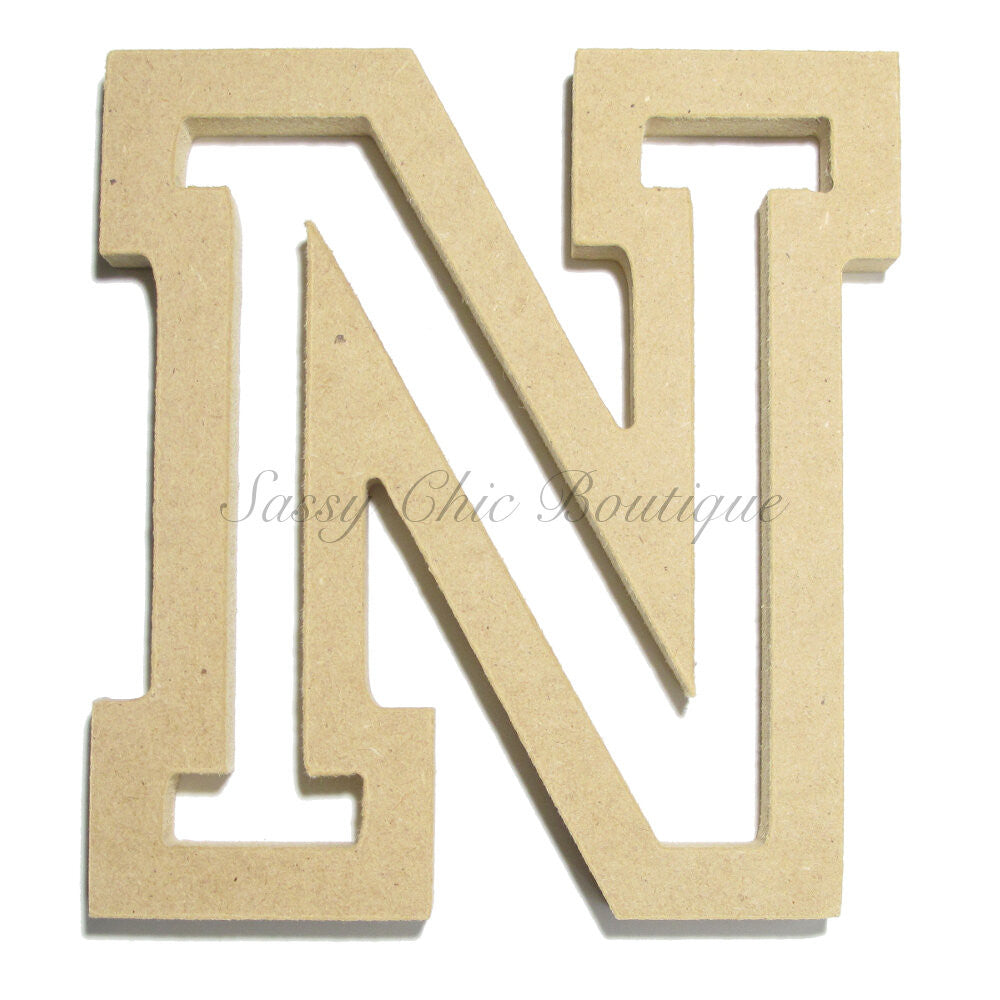 "DIY-Unfinished Wooden Letter - Uppercase ""N"" - All Star Font-Sassy Chic Boutique"