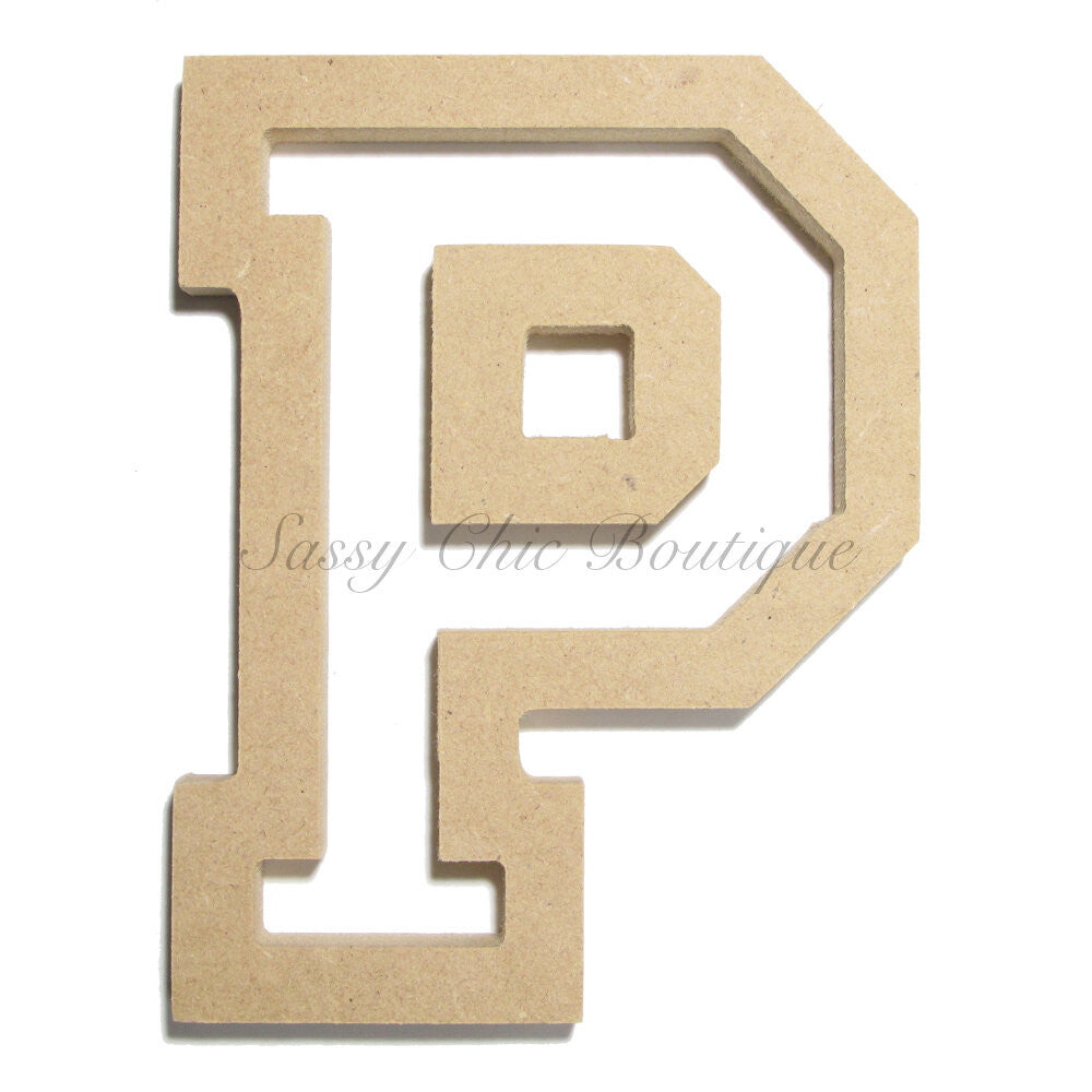 "DIY-Unfinished Wooden Letter - Uppercase ""P"" - All Star Font-Sassy Chic Boutique"