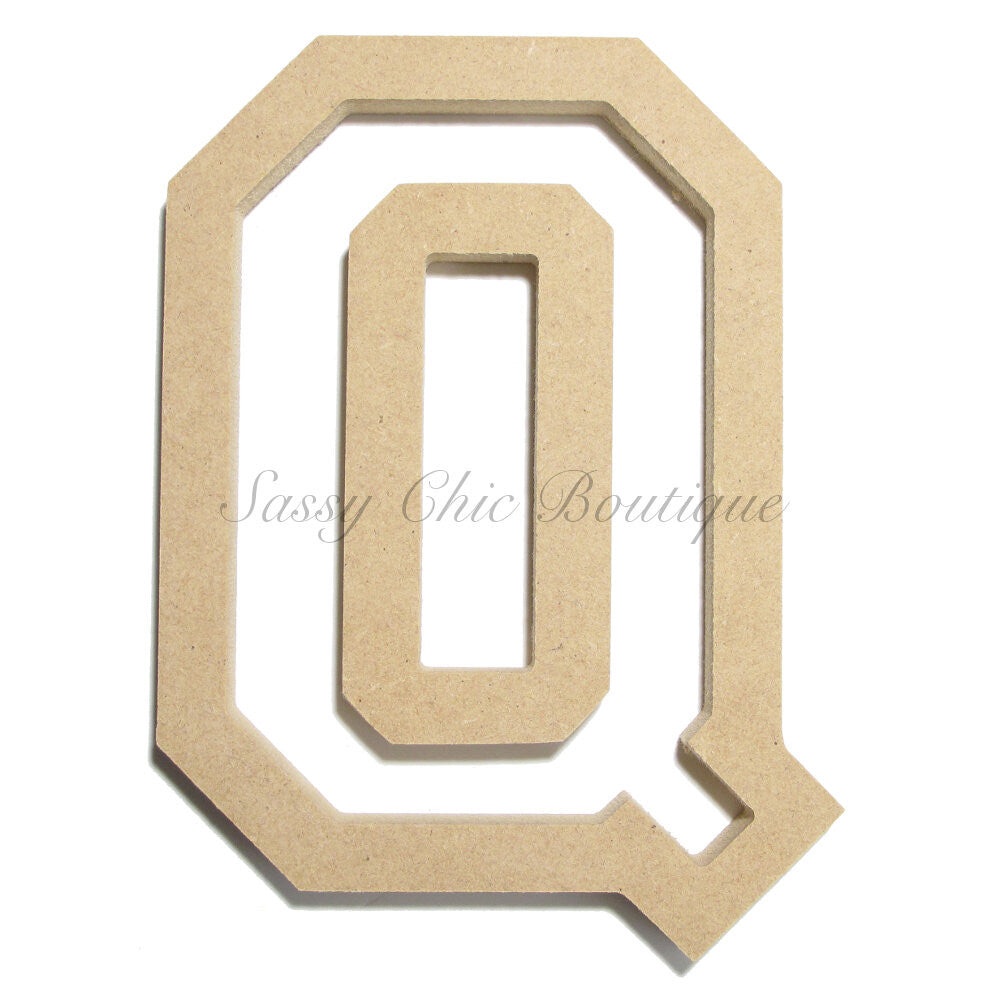 "DIY-Unfinished Wooden Letter - Uppercase ""Q"" - All Star Font-Sassy Chic Boutique"
