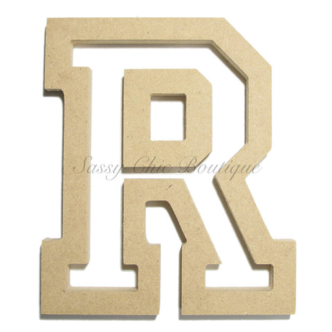 "Unfinished Wooden Letter - Uppercase ""R"" - All Star Font"