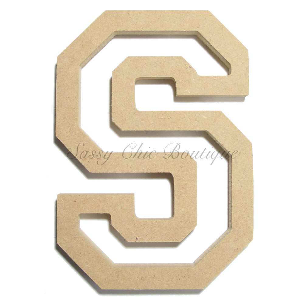 "DIY-Unfinished Wooden Letter - Uppercase ""S"" - All Star Font-Sassy Chic Boutique"