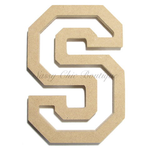 "Unfinished Wooden Letter - Uppercase ""S"" - All Star Font"