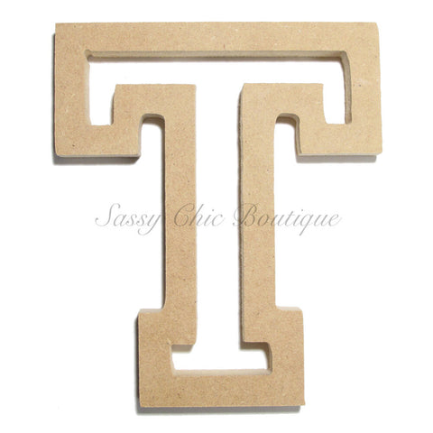 "Unfinished Wooden Letter - Uppercase ""T"" - All Star Font"