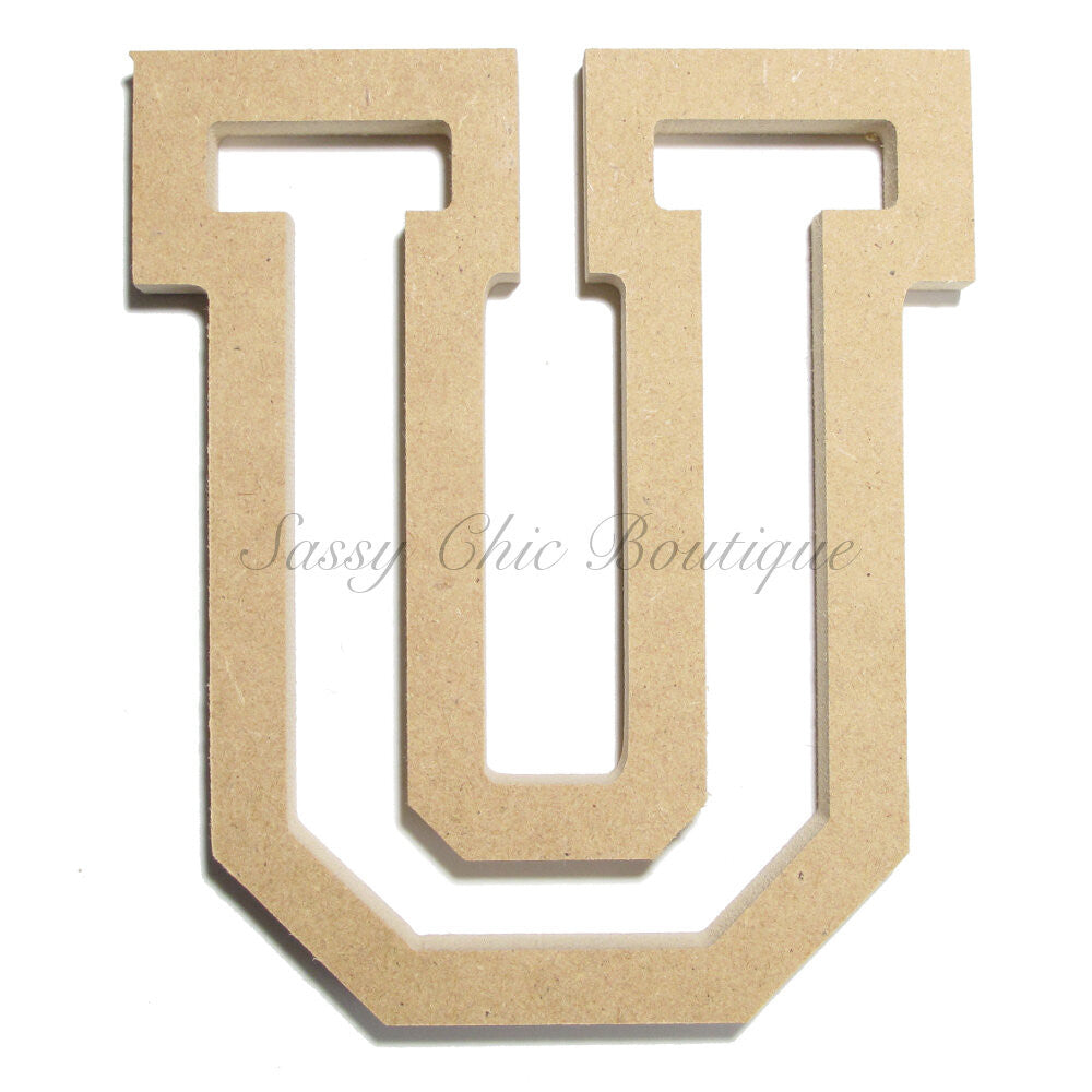 "DIY-Unfinished Wooden Letter - Uppercase ""U"" - All Star Font-Sassy Chic Boutique"