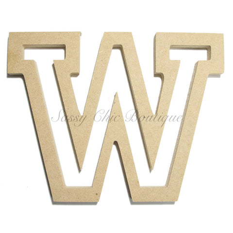 "Unfinished Wooden Letter - Uppercase ""W"" - All Star Font"