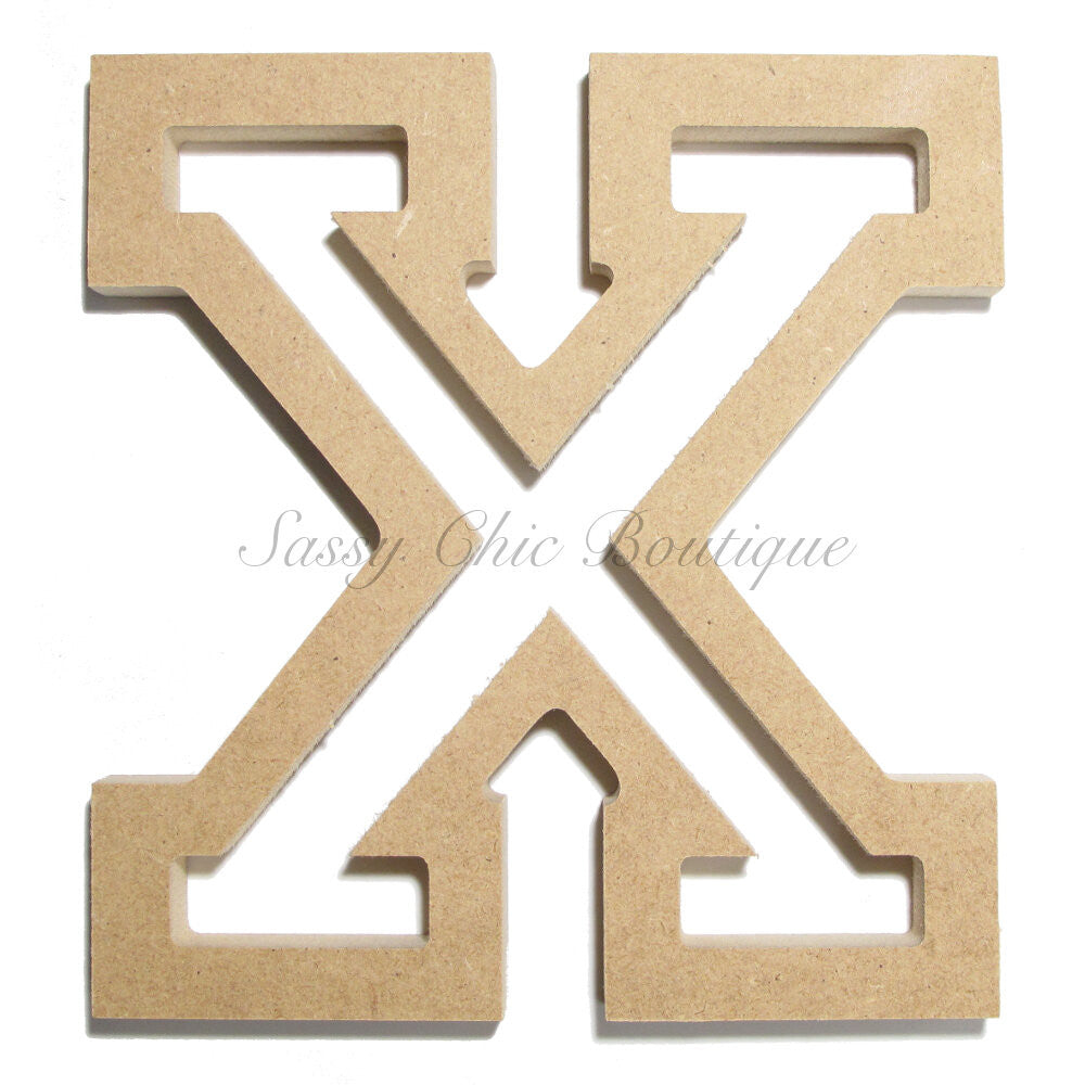 "DIY-Unfinished Wooden Letter - Uppercase ""X"" - All Star Font-Sassy Chic Boutique"
