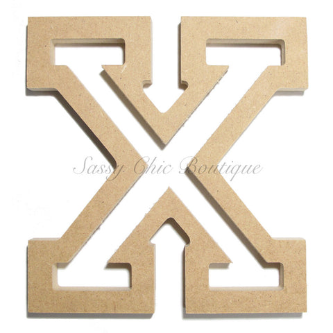 "Unfinished Wooden Letter - Uppercase ""X"" - All Star Font"