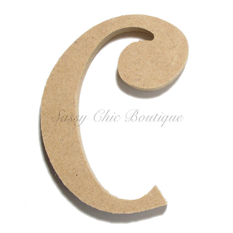 "Unfinished Wooden Letter - Lowercase ""c""- Curlz Font"