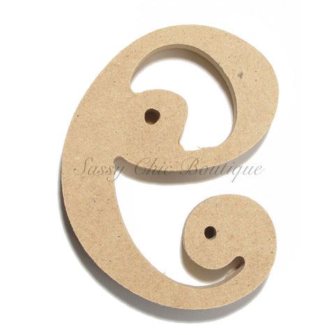"Unfinished Wooden Letter - Lowercase ""e""- Curlz Font"