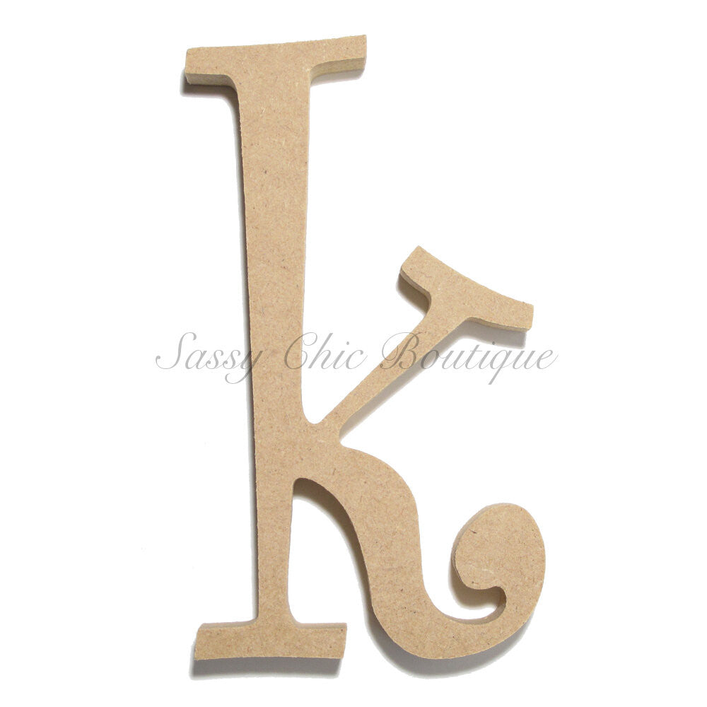 "DIY-Unfinished Wooden Letter - Lowercase ""k""- Curlz Font-Sassy Chic Boutique"