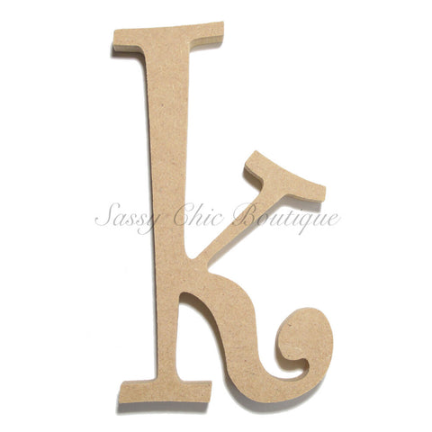 "Unfinished Wooden Letter - Lowercase ""k""- Curlz Font"