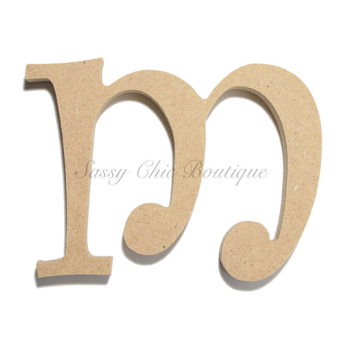 "Unfinished Wooden Letter - Lowercase ""m""- Curlz Font"