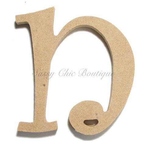 "Unfinished Wooden Letter - Lowercase ""n""- Curlz Font"
