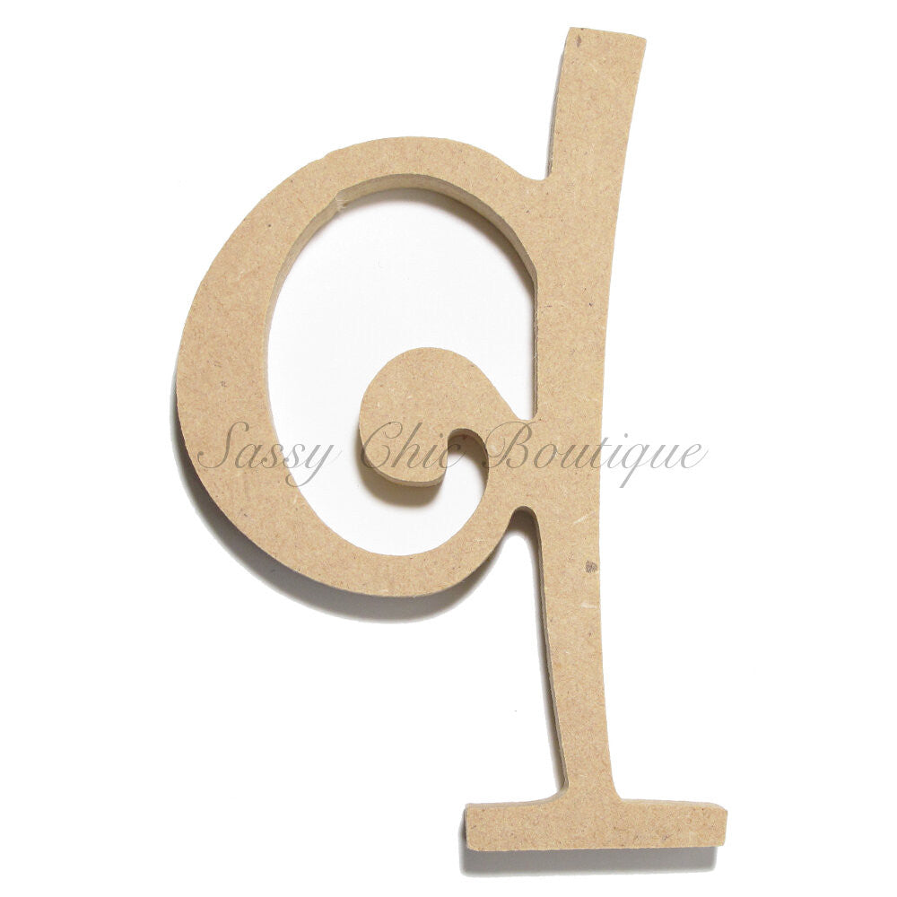 "DIY-Unfinished Wooden Letter - Lowercase ""q""- Curlz Font-Sassy Chic Boutique"