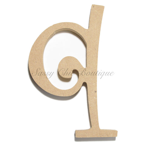 "Unfinished Wooden Letter - Lowercase ""q""- Curlz Font"