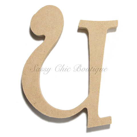 "Unfinished Wooden Letter - Lowercase ""u"" - Curlz Font"