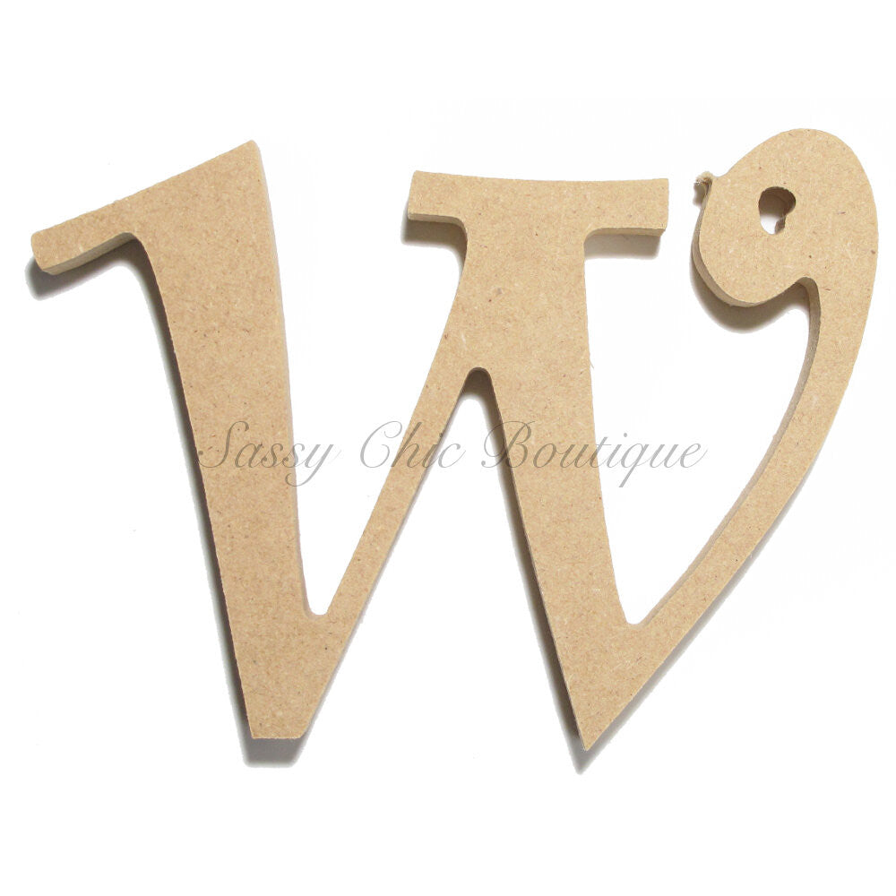 "DIY-Unfinished Wooden Letter - Lowercase ""w"" - Curlz Font-Sassy Chic Boutique"