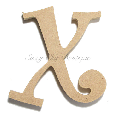 "Unfinished Wooden Letter - Lowercase ""x"" - Curlz Font"