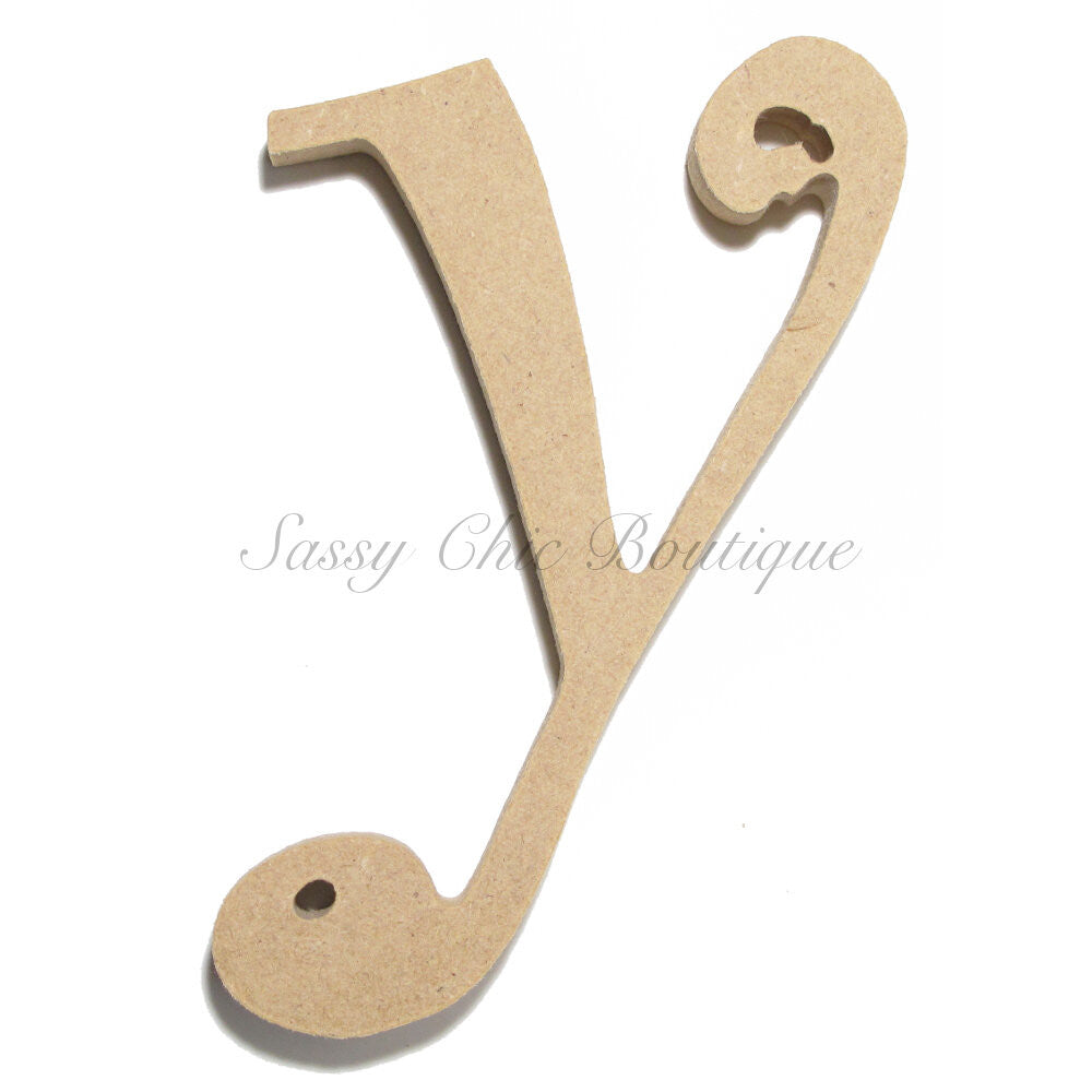 "DIY-Unfinished Wooden Letter - Lowercase ""y"" - Curlz Font-Sassy Chic Boutique"