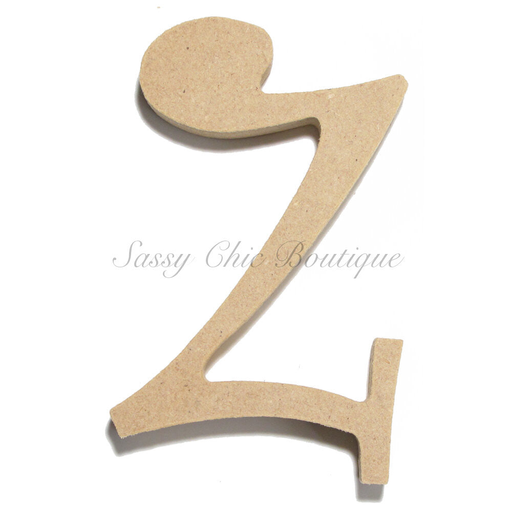 "DIY-Unfinished Wooden Letter - Lowercase ""z"" - Curlz Font-Sassy Chic Boutique"