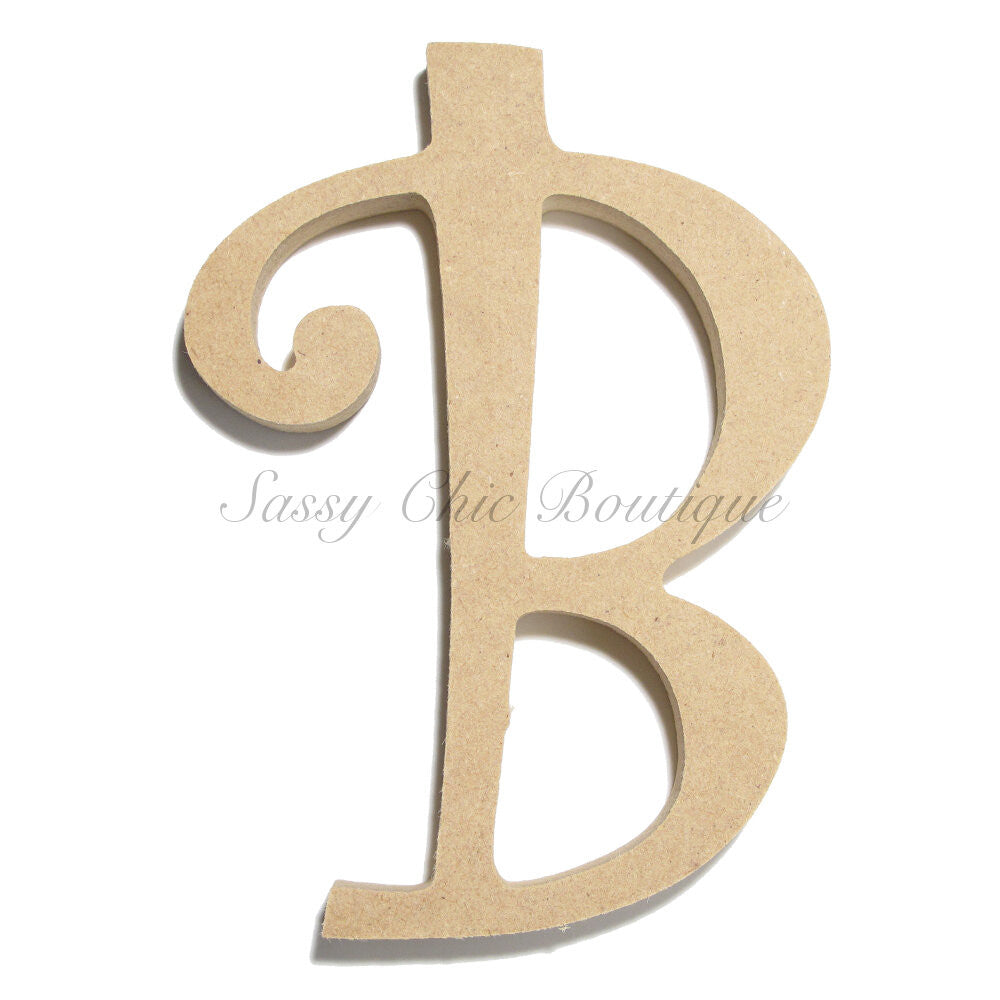 "DIY-Unfinished Wooden Letter - Uppercase ""B"" - Curlz Font-Sassy Chic Boutique"