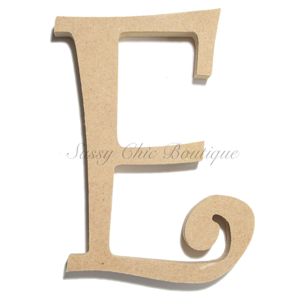 "DIY-Unfinished Wooden Letter - Uppercase ""E"" - Curlz Font-Sassy Chic Boutique"