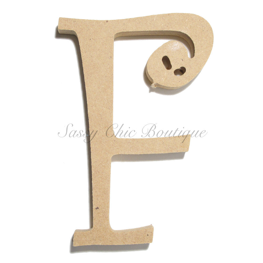 "DIY-Unfinished Wooden Letter - Uppercase ""F"" - Curlz Font-Sassy Chic Boutique"