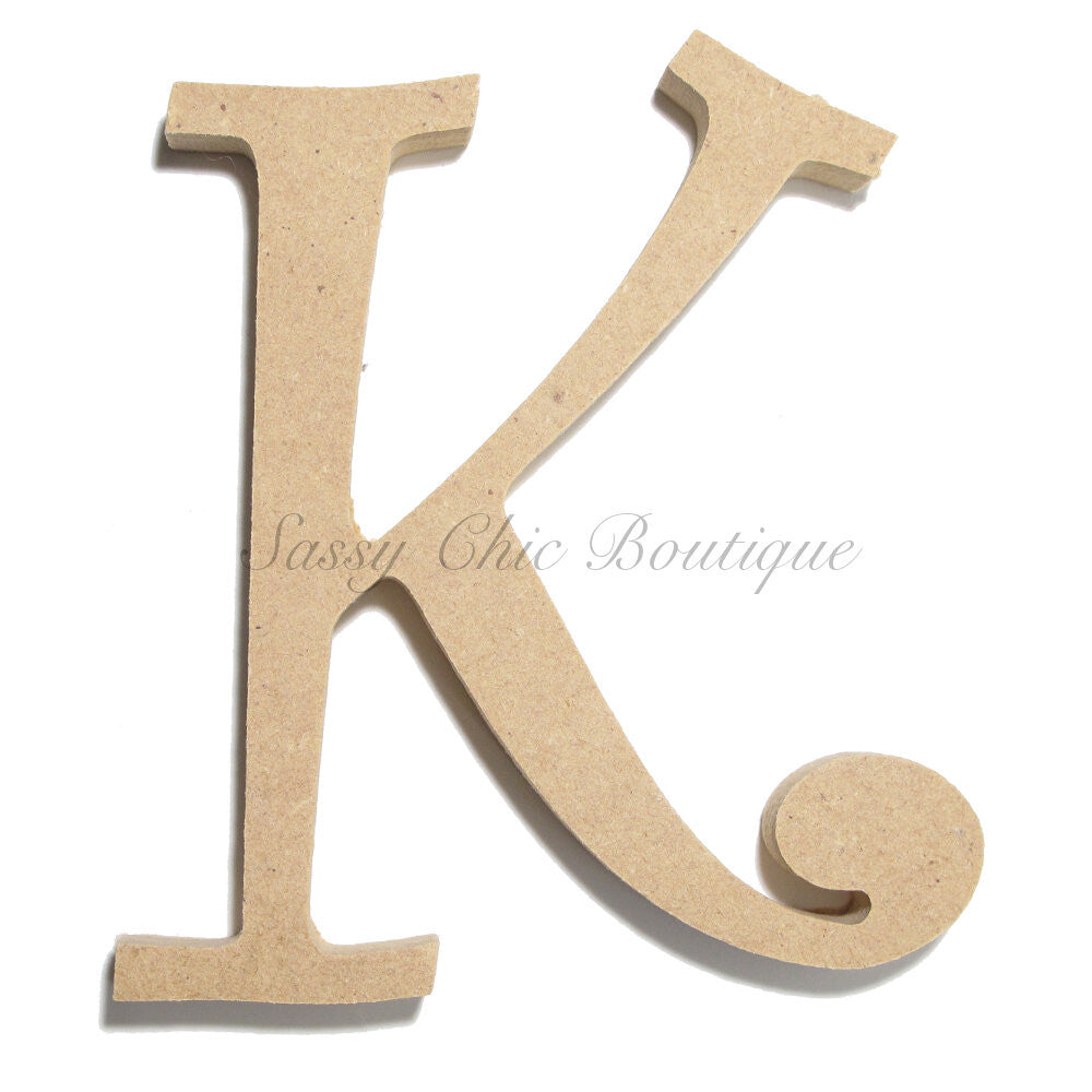 "DIY-Unfinished Wooden Letter - Uppercase ""K"" - Curlz Font-Sassy Chic Boutique"