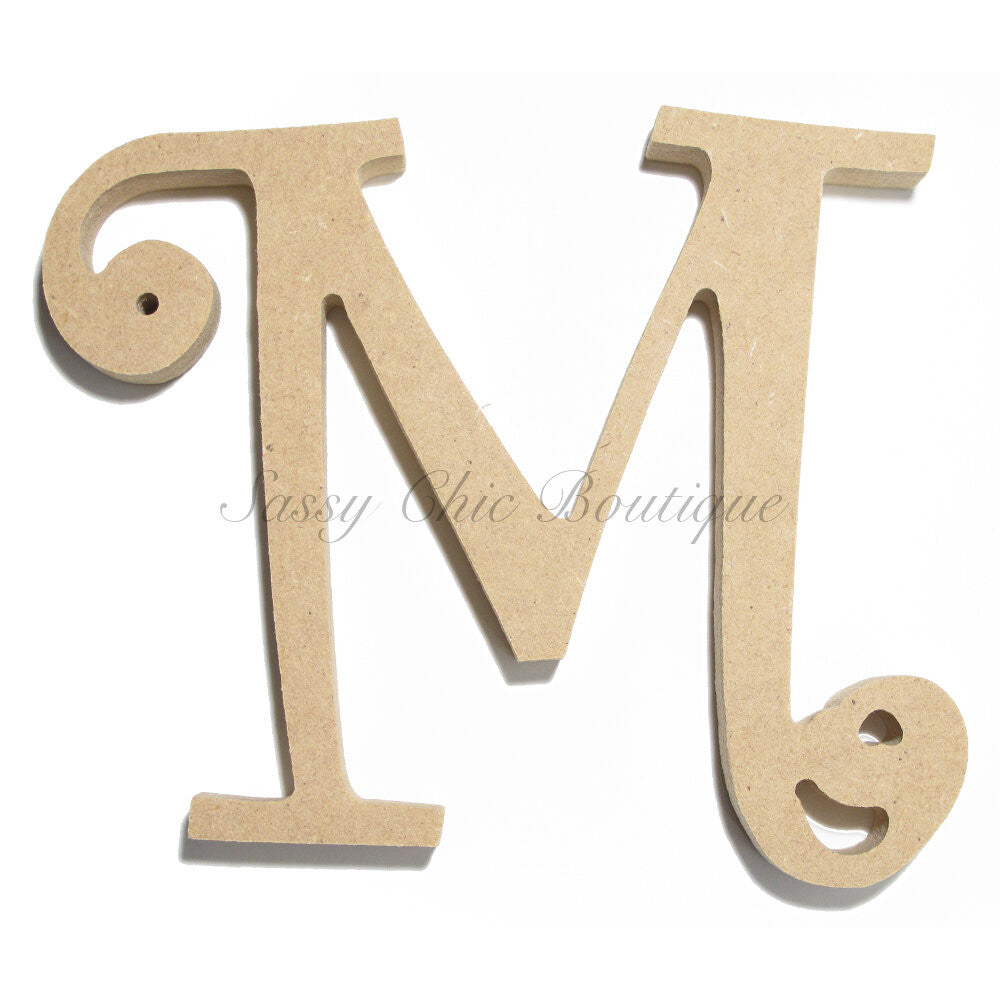 "DIY-Unfinished Wooden Letter - Uppercase ""M"" - Curlz Font-Sassy Chic Boutique"
