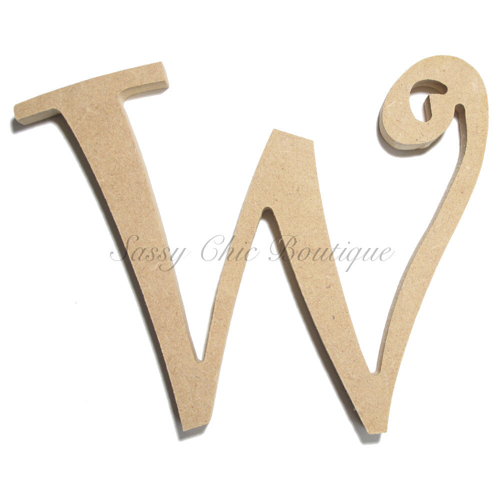 "DIY-Unfinished Wooden Letter - Uppercase ""W"" - Curlz Font-Sassy Chic Boutique"