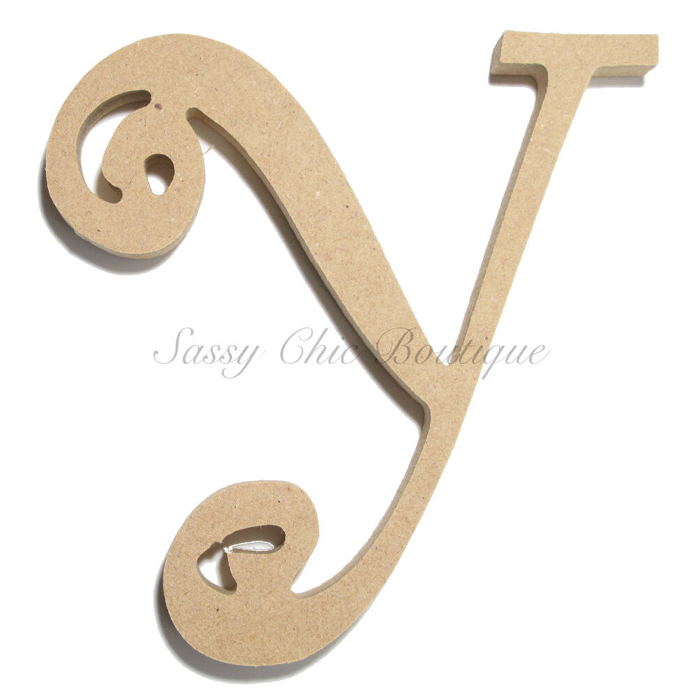 "DIY-Unfinished Wooden Letter - Uppercase ""Y"" - Curlz Font-Sassy Chic Boutique"