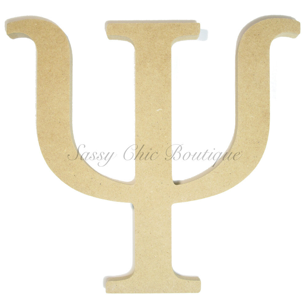 "DIY-Unfinished Wooden Greek Letter ""Psi""-Sassy Chic Boutique"