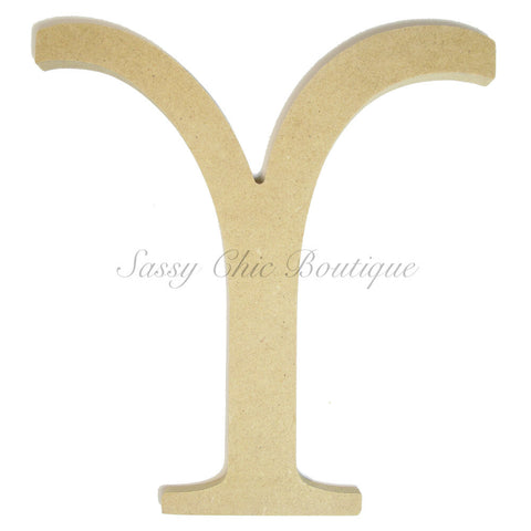 "Unfinished Wooden Greek Letter ""Upsilon"""