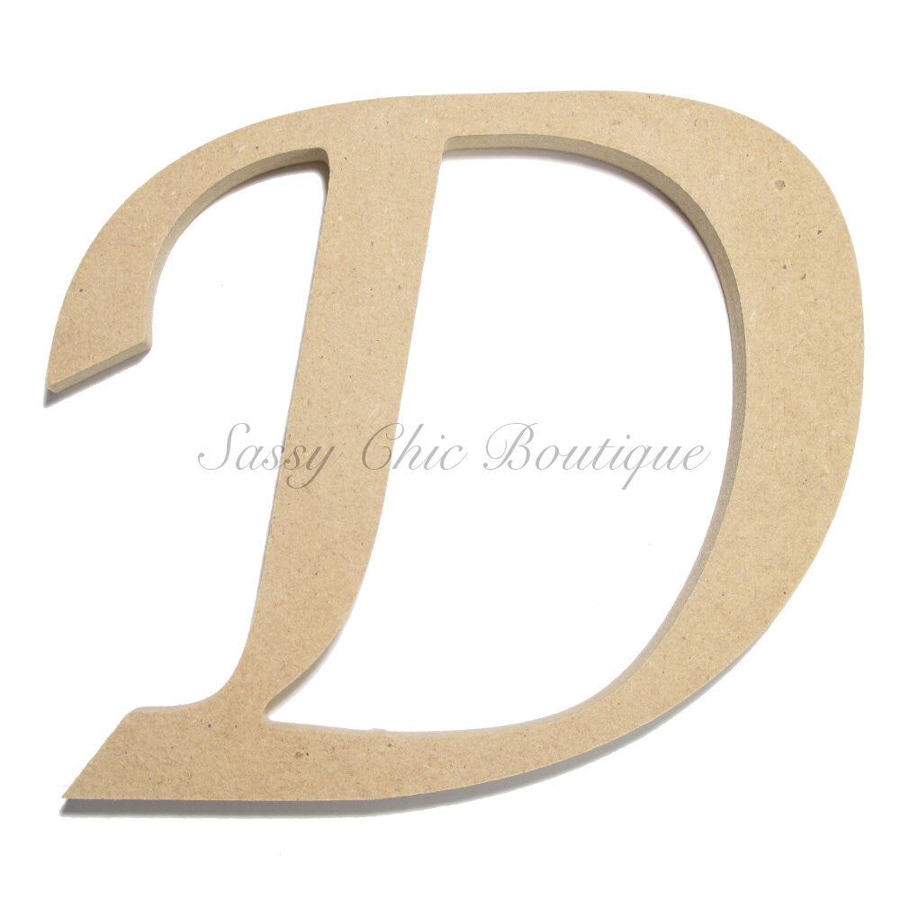 "DIY-Unfinished Wooden Letter - Uppercase ""D"" - Lucida Calligraphy Font-Sassy Chic Boutique"