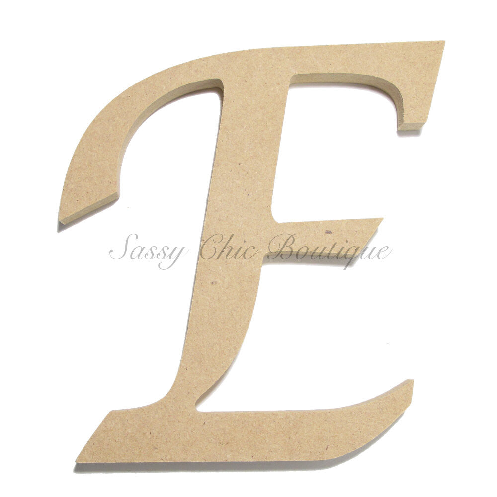 "DIY-Unfinished Wooden Letter - Uppercase ""E"" - Lucida Calligraphy Font-Sassy Chic Boutique"