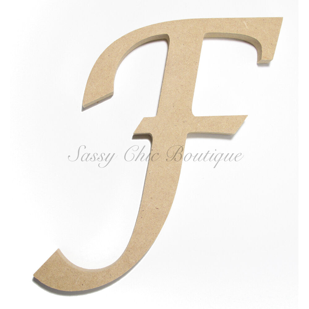 "DIY-Unfinished Wooden Letter - Uppercase ""F"" - Lucida Calligraphy Font-Sassy Chic Boutique"