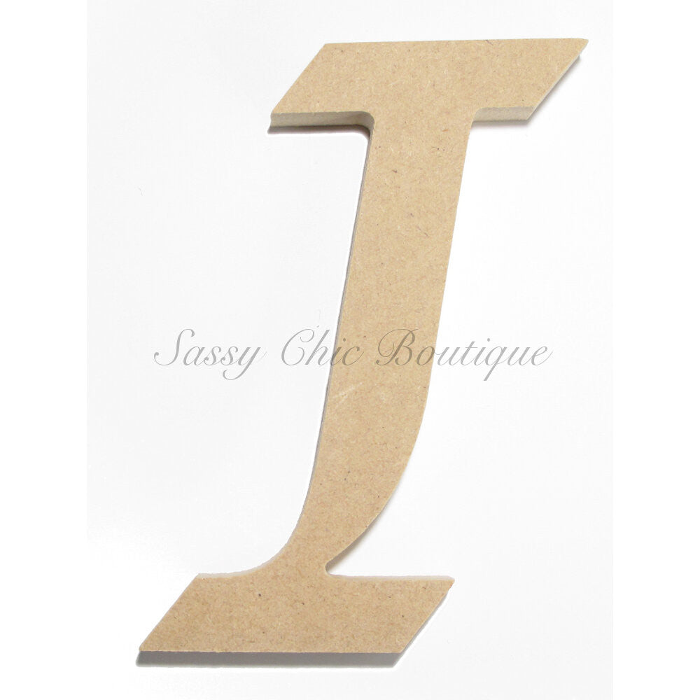 "DIY-Unfinished Wooden Letter - Uppercase ""I"" - Lucida Calligraphy Font-Sassy Chic Boutique"