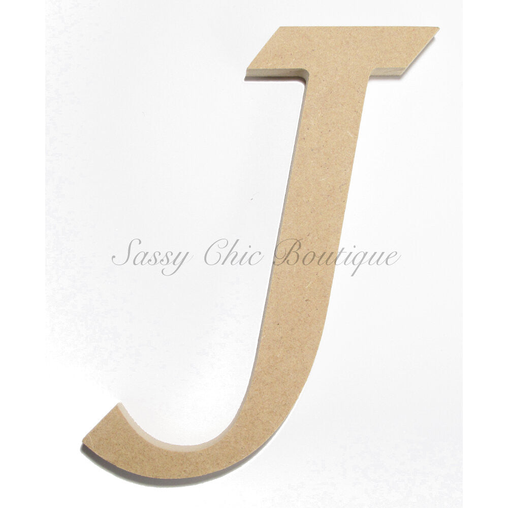 "DIY-Unfinished Wooden Letter - Uppercase ""J"" - Lucida Calligraphy Font-Sassy Chic Boutique"