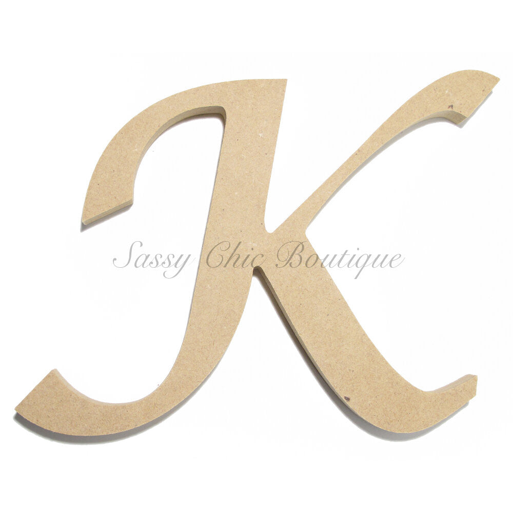 "DIY-Unfinished Wooden Letter - Uppercase ""K"" - Lucida Calligraphy Font-Sassy Chic Boutique"