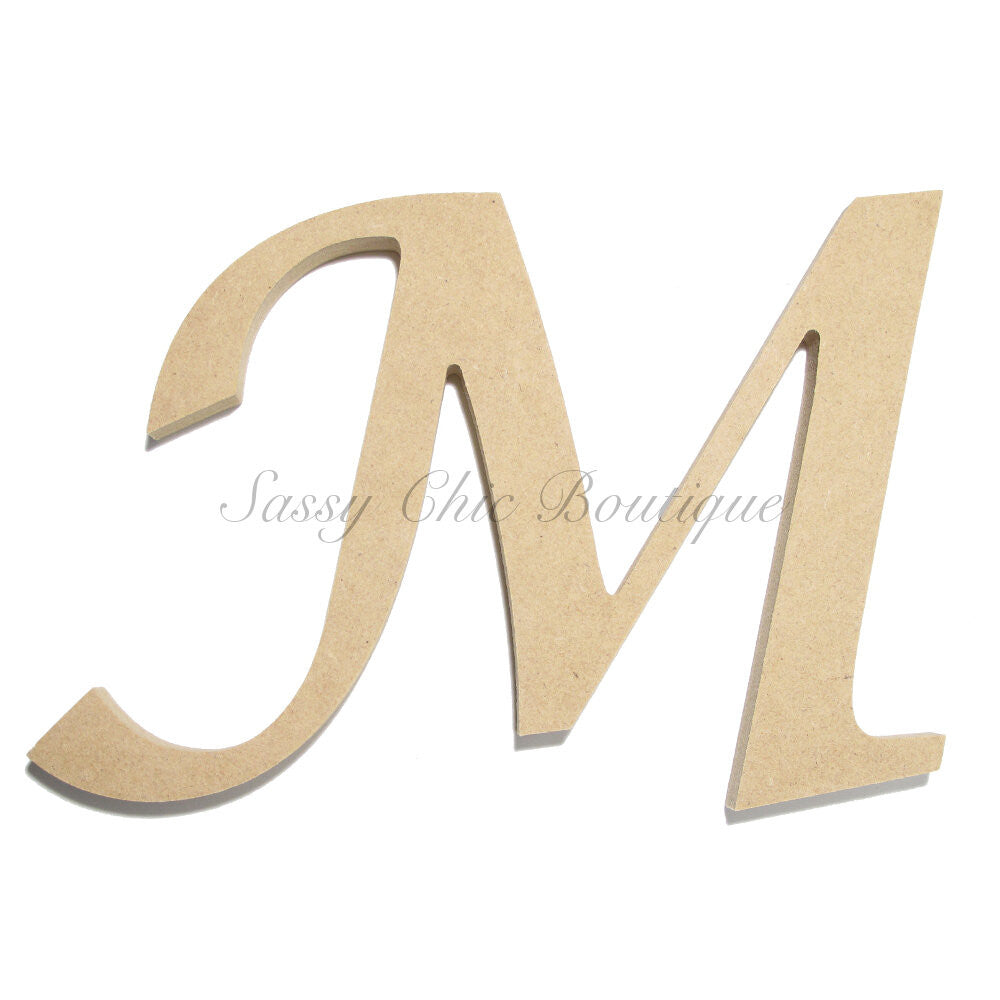 "DIY-Unfinished Wooden Letter - Uppercase ""M"" - Lucida Calligraphy Font-Sassy Chic Boutique"